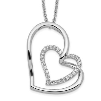 Sterling Silver Antiqued CZ Thank You Grandma 18in Hearts Necklace