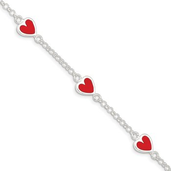 Sterling Silver Enamel Red Heart Child's 5in Plus 1in ext Bracelet