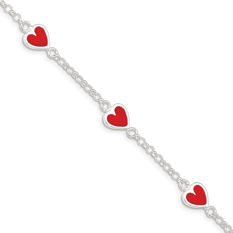 Quality Gold Sterling Silver Enamel Red Heart Child's Bracelet