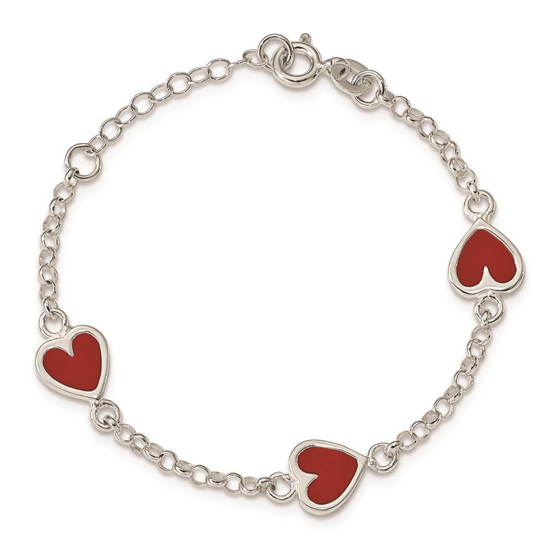 Quality Gold Sterling Silver Enamel Red Heart Child's 5in Plus 1in ext Bracelet