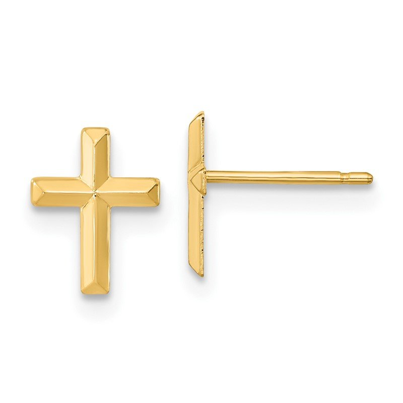 Quality Gold 14k Madi K Polished 3D Cross Post Earrings
