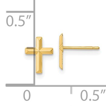 14k Madi K Polished 3D Cross Post Earrings