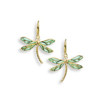 Blue Dragonfly Wire Earrings.18K -Diamonds - Plique-a-Jour