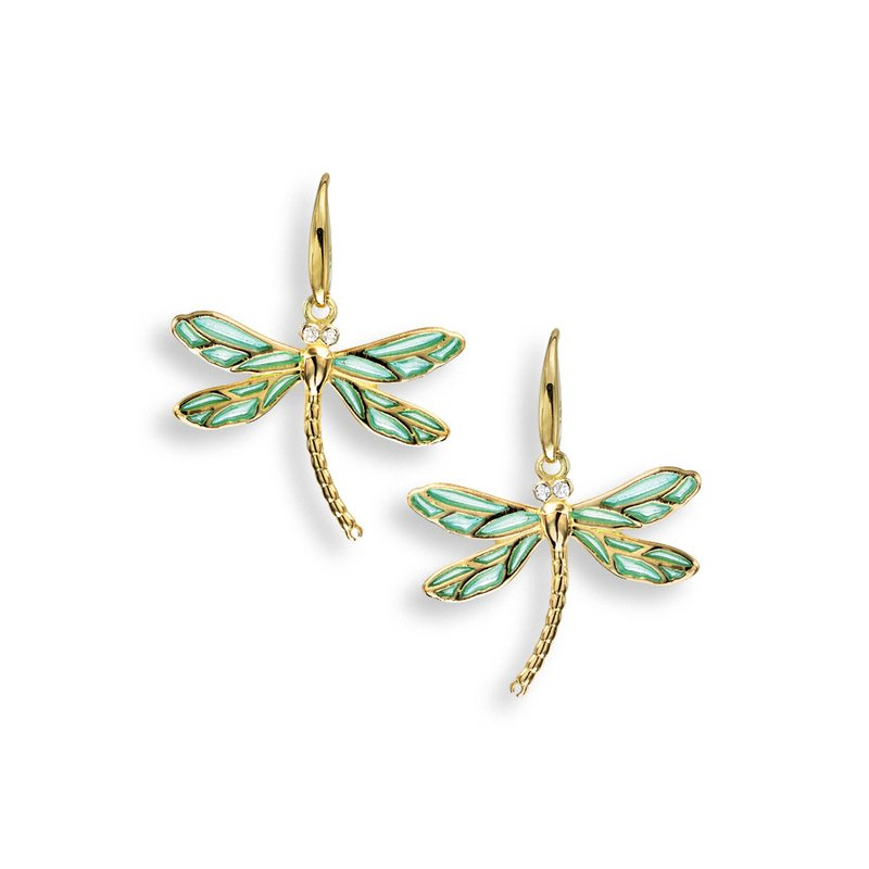 Nicole Barr Designs Blue Dragonfly Wire Earrings.18K -Diamonds - Plique-a-Jour