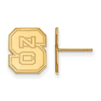 Gold-Plated Sterling Silver North Carolina State University NCAA Earrings