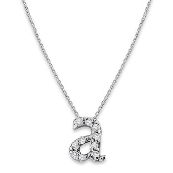 "Diamond Baby Typewriter Initial ""A"" Necklace in 14k White Gold with 10 Diamonds weighing .05ct tw."
