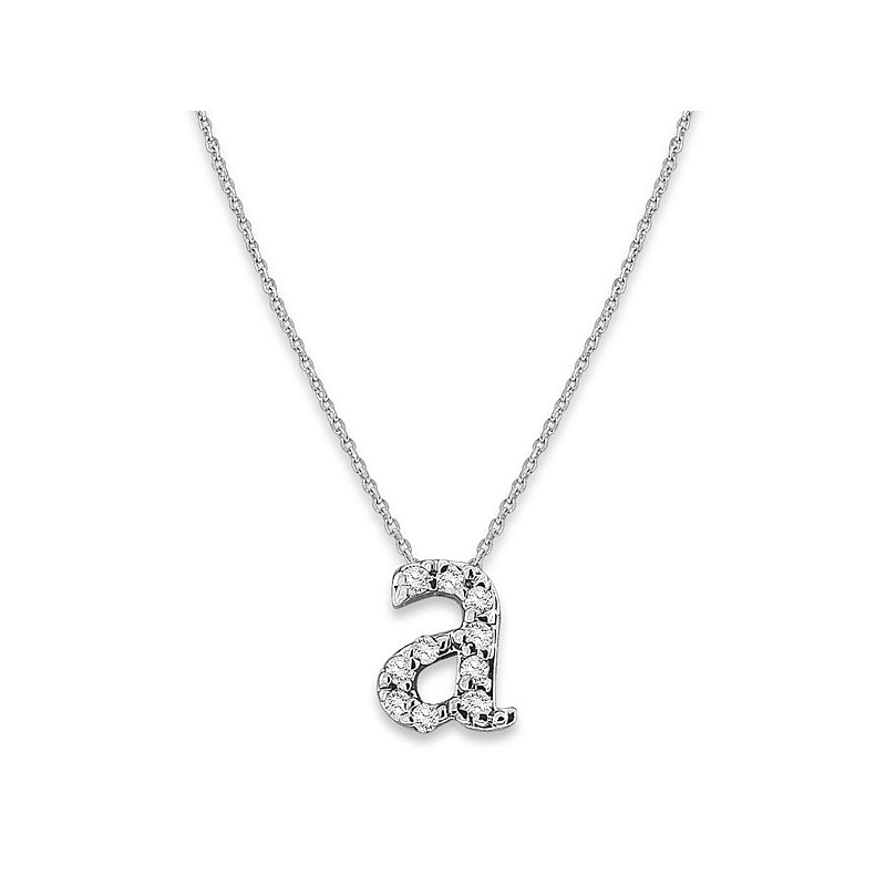 "MAZZARESE Fashion Diamond Baby Typewriter Initial ""A"" Necklace in 14k White Gold with 10 Diamonds weighing .05ct tw."