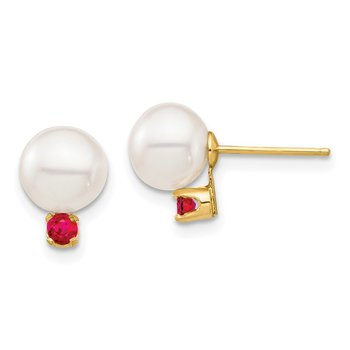 14K 7-7.5mm White Round Freshwater Cultured Pearl Ruby Post Earrings