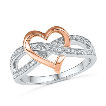Pink Gold Heart 10K  Diamond Promise Ring