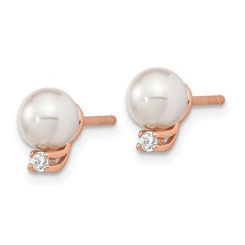 Sterling Silver Rose-tone CZ & Mother of Pearl Earrings