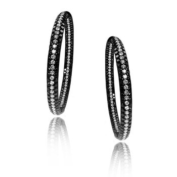 Gothica Black and White Diamond Hoop