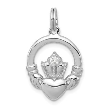 Sterling Silver CZ Irish Claddagh Pendant