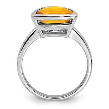 Sterling Silver Rhodium Citrine Ring