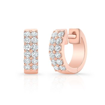 Rose Gold Double Row Huggie Hoops