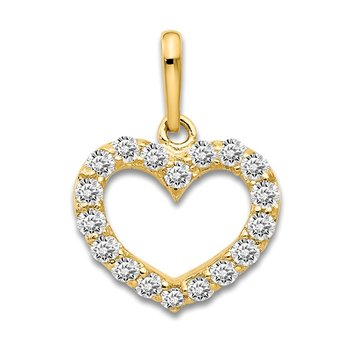 14k CZ Children's Heart Pendant