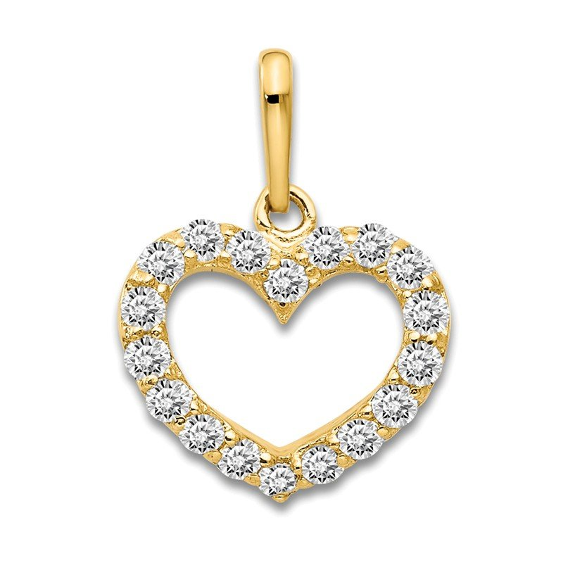 Quality Gold 14k CZ Children's Heart Pendant
