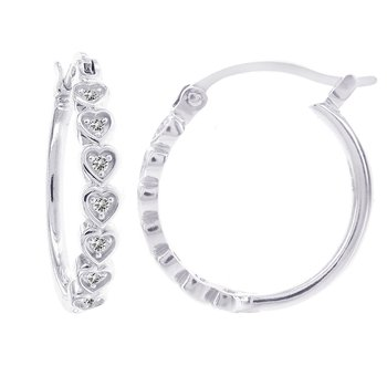 14k White Gold Diamond Accent Heart Hoop Earrings