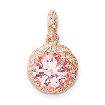 Sterling Silver Rose-tone Crystal Pendant