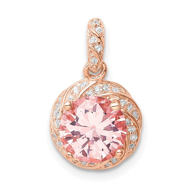 Quality Gold Sterling Silver Rose-tone Crystal Pendant