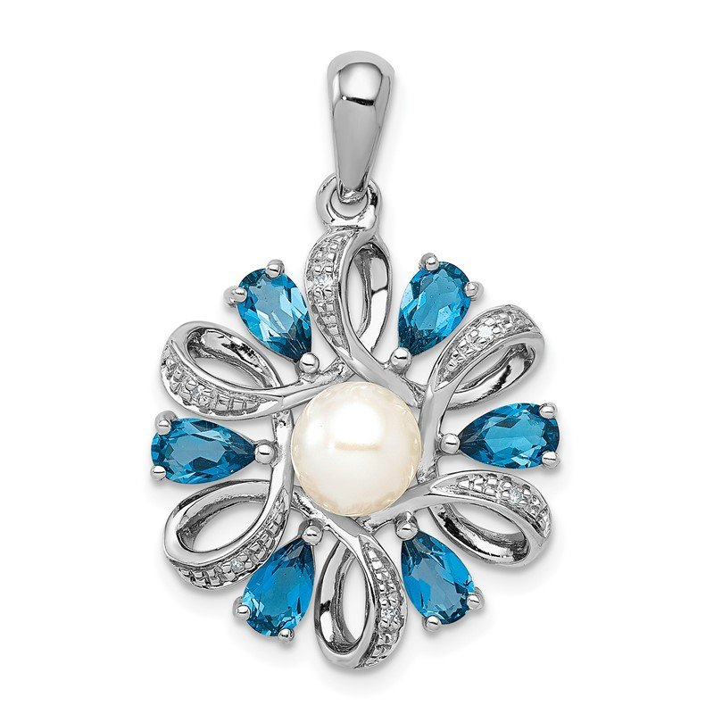Fine Jewelry by JBD Sterling Silver Rhodium Plated Dia. and London BT Flower Pendant