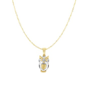 14K Gold Owl Necklace