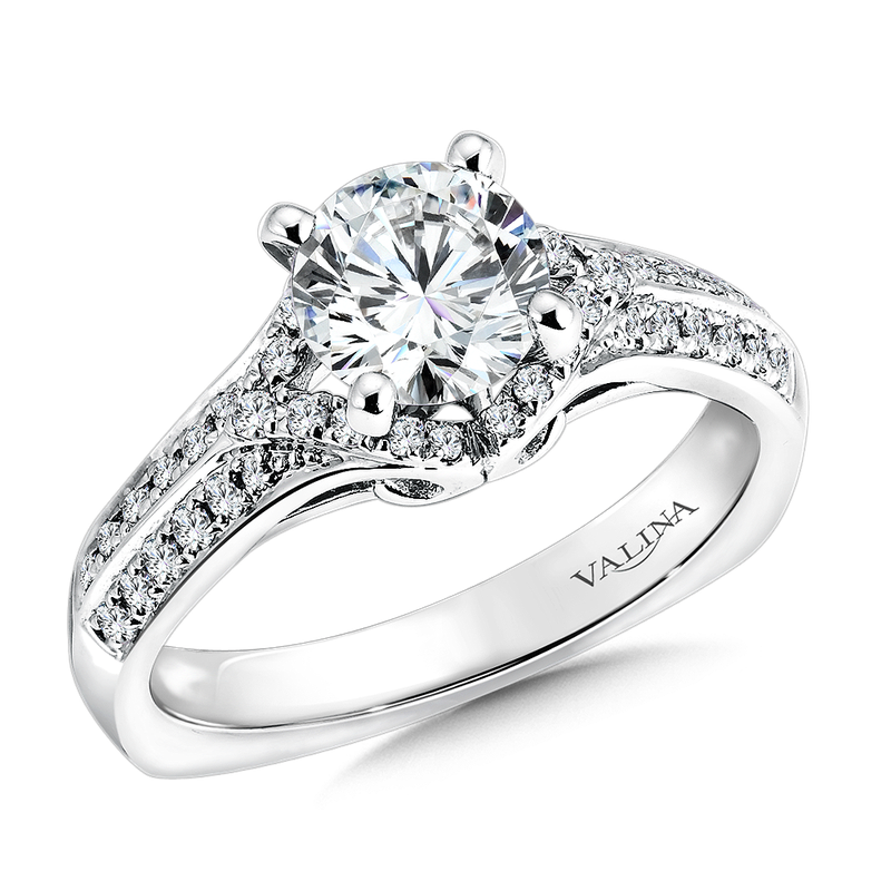 Valina Bridals Mounting with side stones .30 ct. tw., 1 ct. round center.