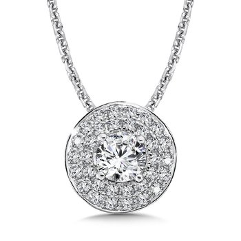 Diamond Double Round Halo Pendant in 14K White Gold (1/2ct. tw.)