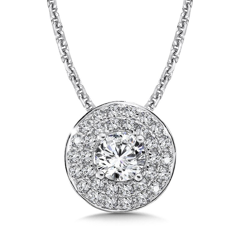Caro74 Diamond Double Round Halo Pendant in 14K White Gold (1/2ct. tw.)