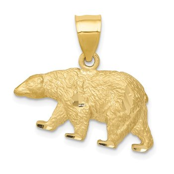 14K Diamond-cut Bear Pendant