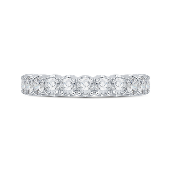 18K White Gold Round Diamond Euro Shank Wedding Band