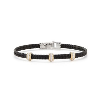 Black Cable Fused Bracelet with 18kt Yellow Gold & Diamonds