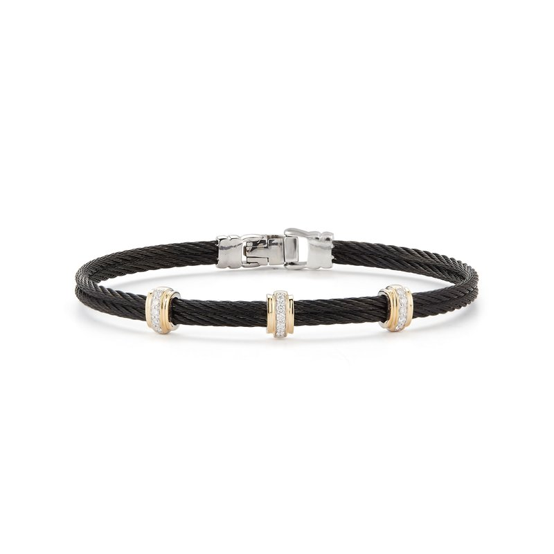 ALOR Black Cable Fused Bracelet with 18kt Yellow Gold & Diamonds