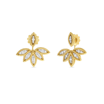 18KT GOLD DIAMOND STUD EARRINGS WITH FAN JACKET