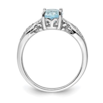 Sterling Silver Rhod-plated Polished Blue Topaz and White CZ Ring
