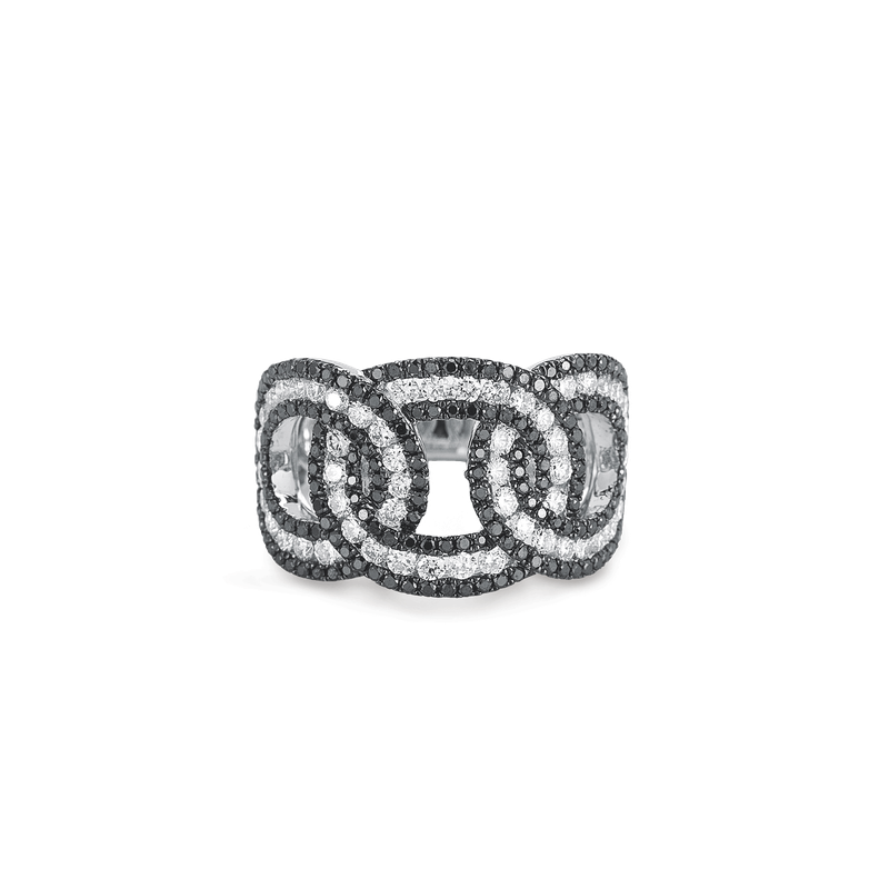 Roberto Coin Cable Link Ring With Diamonds