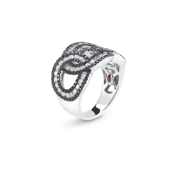 18Kt Gold Cable Link Ring With Diamonds