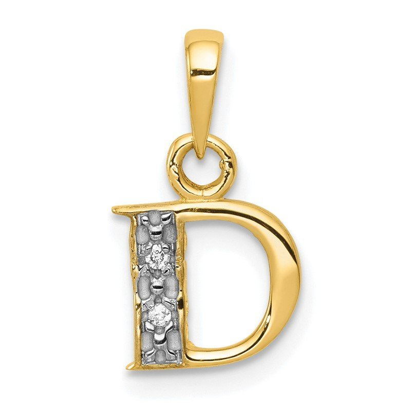 Quality Gold 14KY with Rhodium Diamond Letter D Initial Pendant