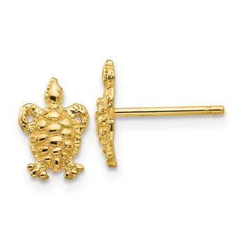 14K Mini Turtle Post Earrings