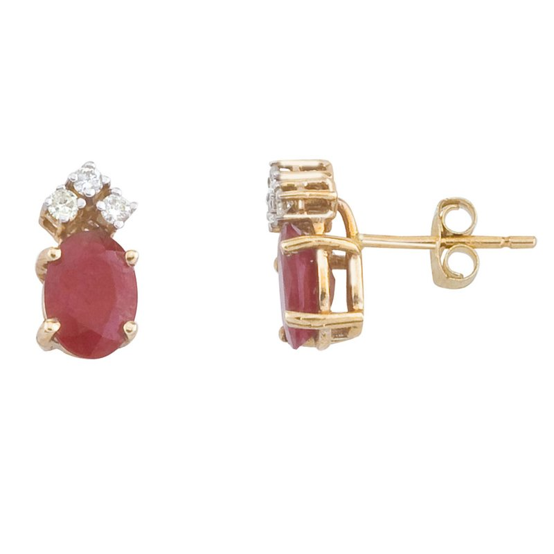 Color Merchants 14k Yellow Gold Ruby And Diamond Oval Earrings