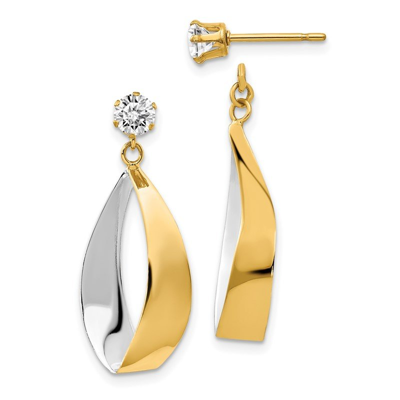 Quality Gold 14k Oval Dangle Jacket w/Rhodium and CZ Earrings