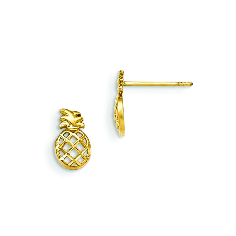 Quality Gold 14k Madi K D/C Children's Pineapple Post Earrings