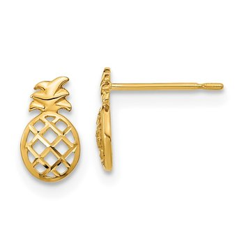14k Madi K D/C Children's Pineapple Post Earrings