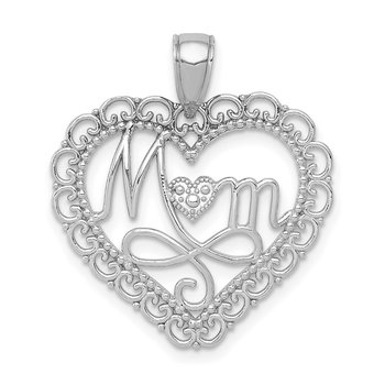 14K White Gold Polished MOM Scallop Heart Pendant