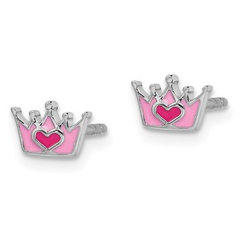 Sterling Silver Rhodium-plated Childs Enameled Pink Crown Post Earrings