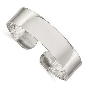 Sterling Silver 14.75mm Fancy Cuff Bangle Bracelet