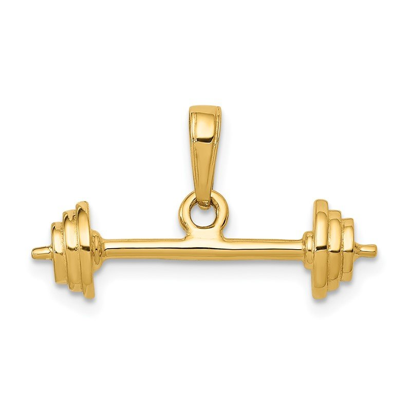 Quality Gold 14k 3-D Barbell Pendant