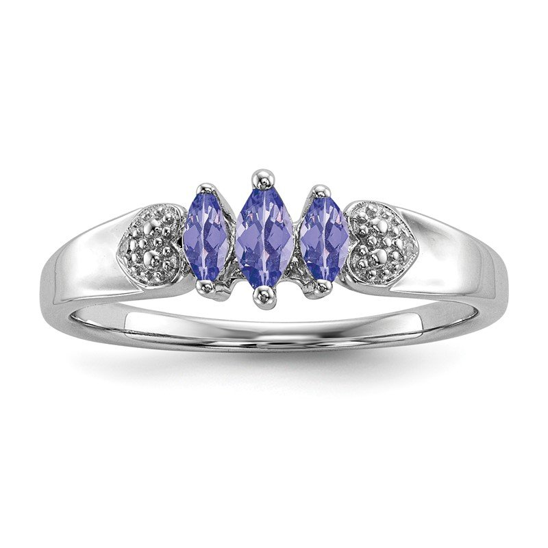 Quality Gold Sterling Silver Rhodium Diam. and Tanzanite Ring