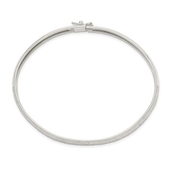 Sterling Silver 6.5mm Laser and Diamond-cut Flexible Bangle
