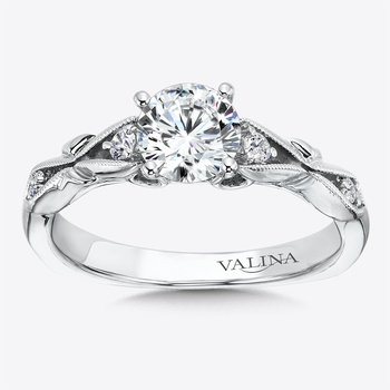 Diamond Engagement Ring With Side Stones in 14K White Gold (0.11 ct. tw.)