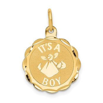 14k Polished IT'S A BOY Scalloped Disc Charm